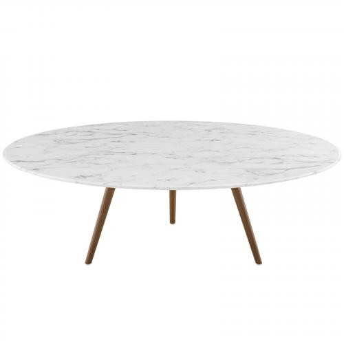 "Lippa 47"" Round Artificial Marble Coffee Table with Tripod Base in Walnut White"