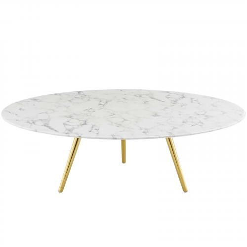 "Lippa 47"" Round Artificial Marble Coffee Table with Tripod Base in Gold White"