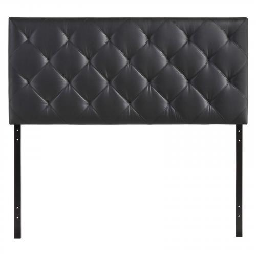 Theodore Queen Upholstered Vinyl Headboard in Black