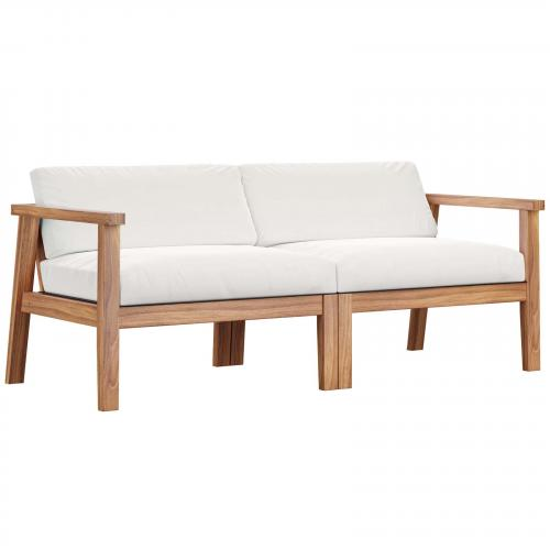 Bayport Outdoor Patio Teak Wood 2-Seater Loveseat in Natural White