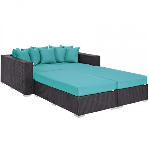 Convene 4 Piece Outdoor Patio Daybed in Espresso Turquoise