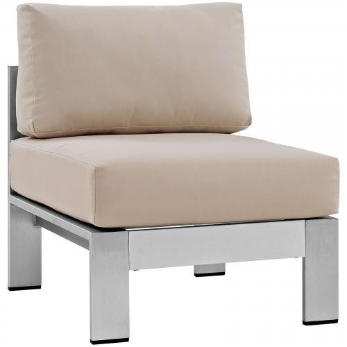 Shore Armless Outdoor Patio Aluminum Chair