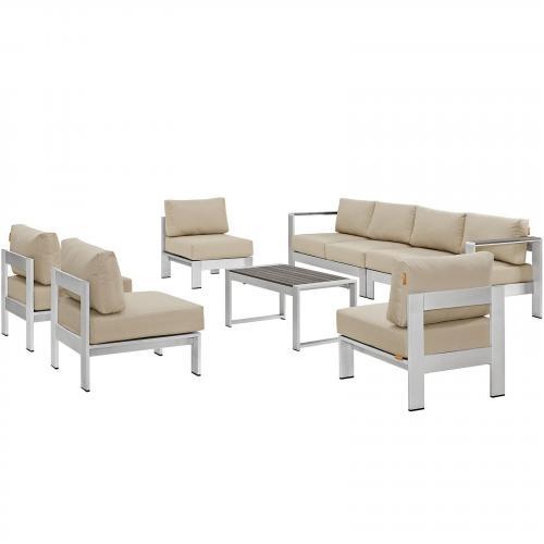 Shore 7 Piece Outdoor Patio Sectional Sofa Set